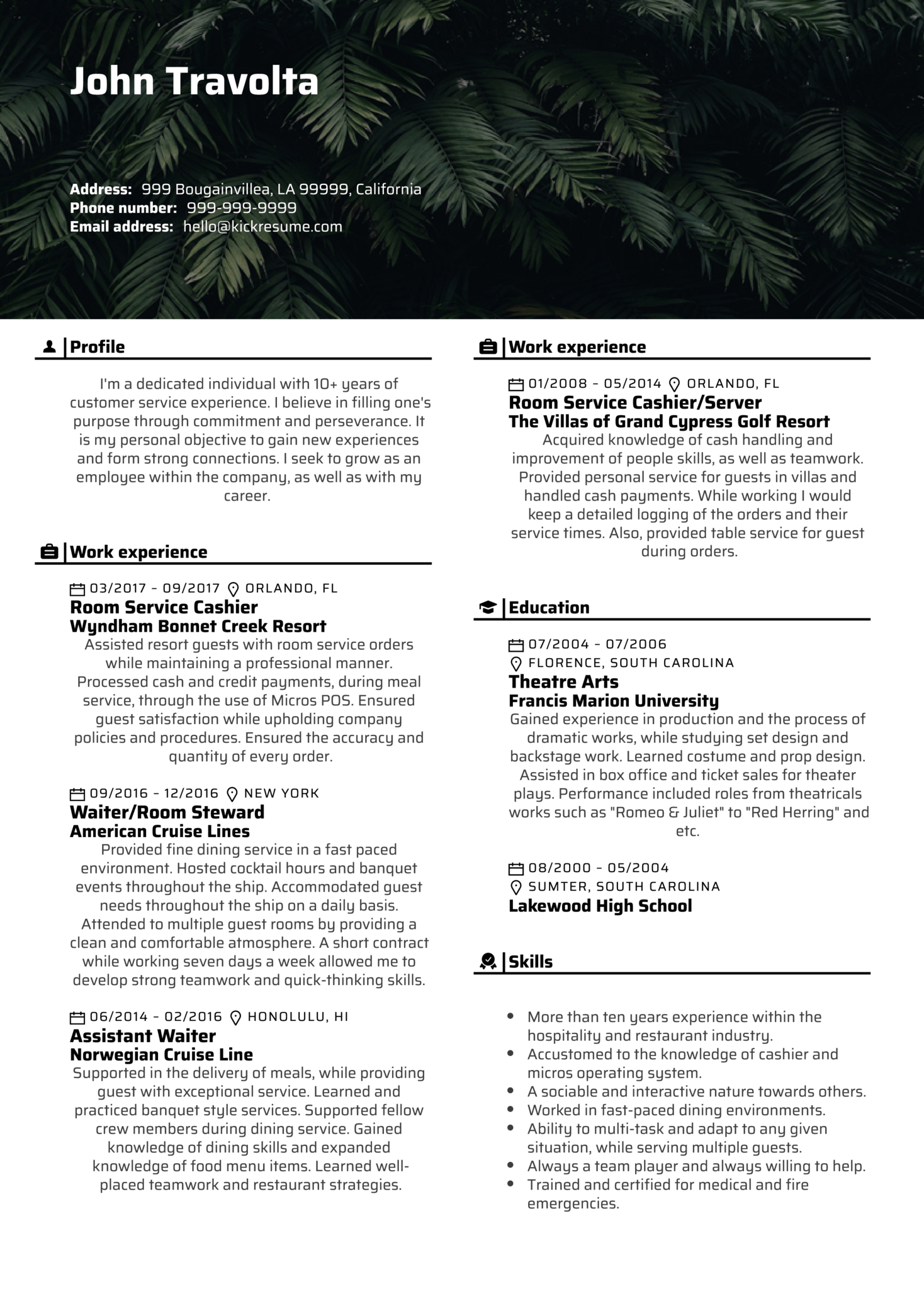 Customer Service Agent at Wyndham Resume Example (Teil 1)