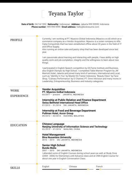 Myacico Acquisition Analyst Resume Example