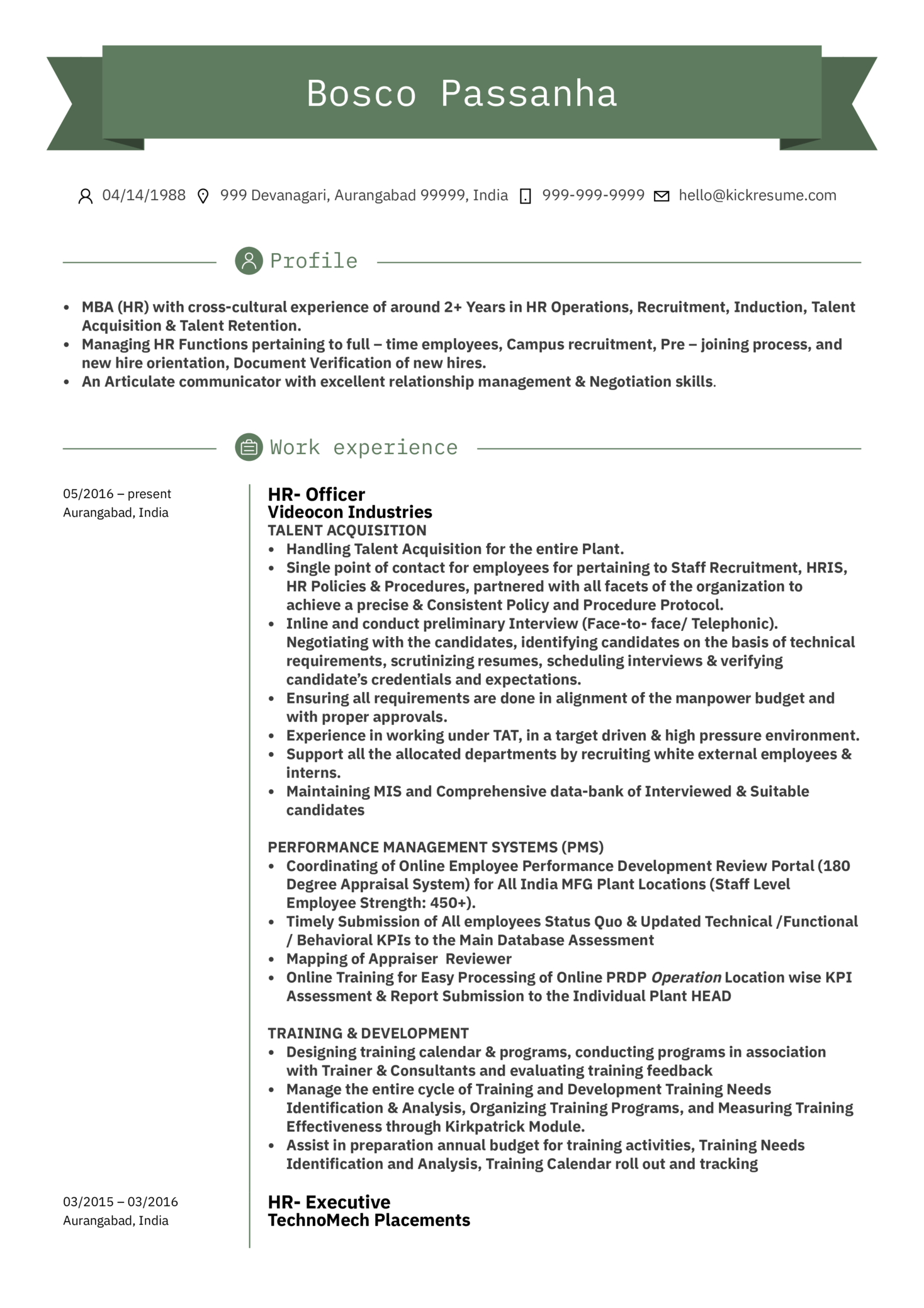 Human Resources Assistant Manager Resume Sample (Teil 1)