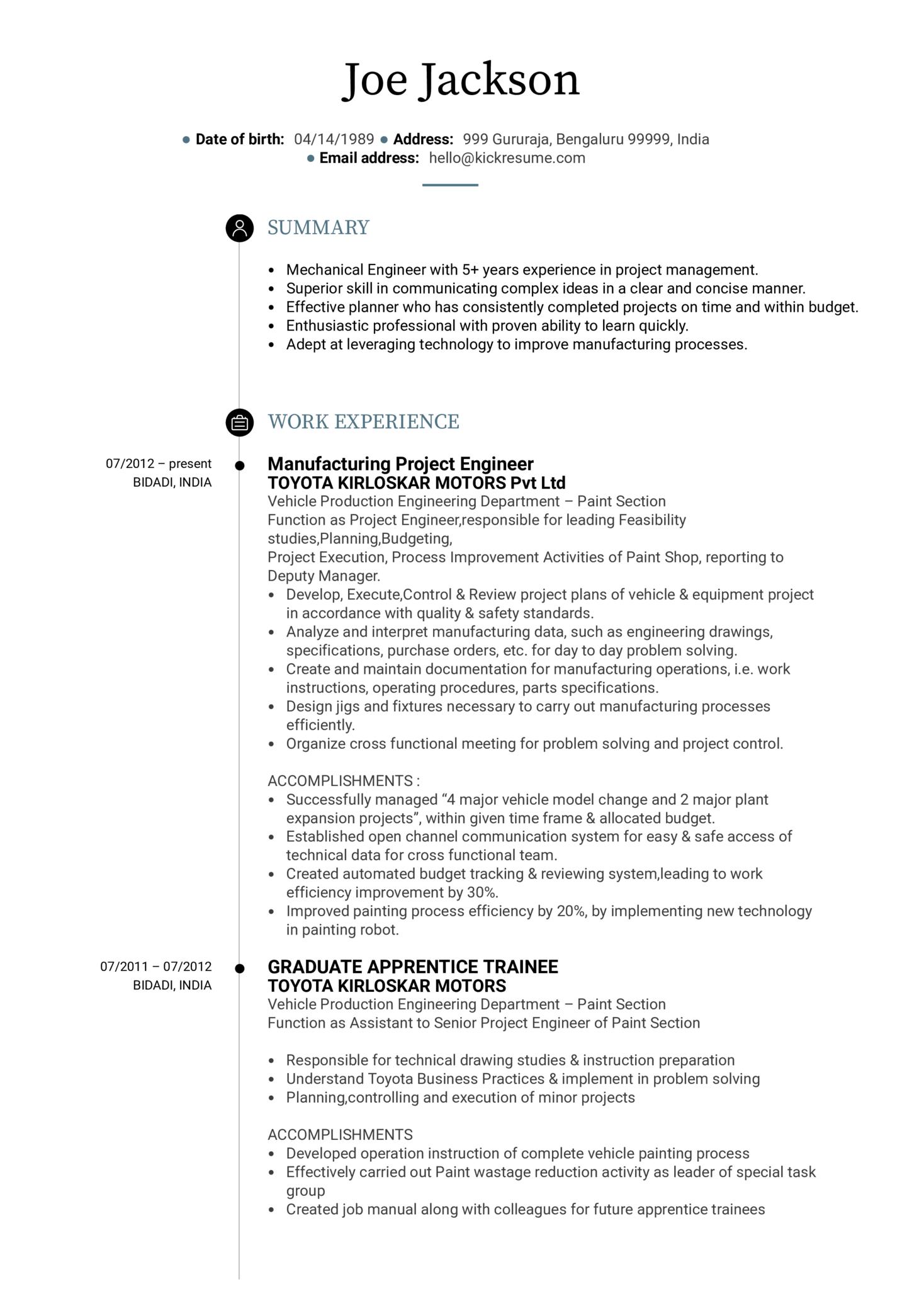 Project Engineer CV Sample (parte 1)