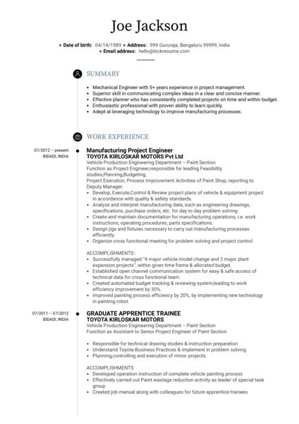 Project Engineer CV Sample