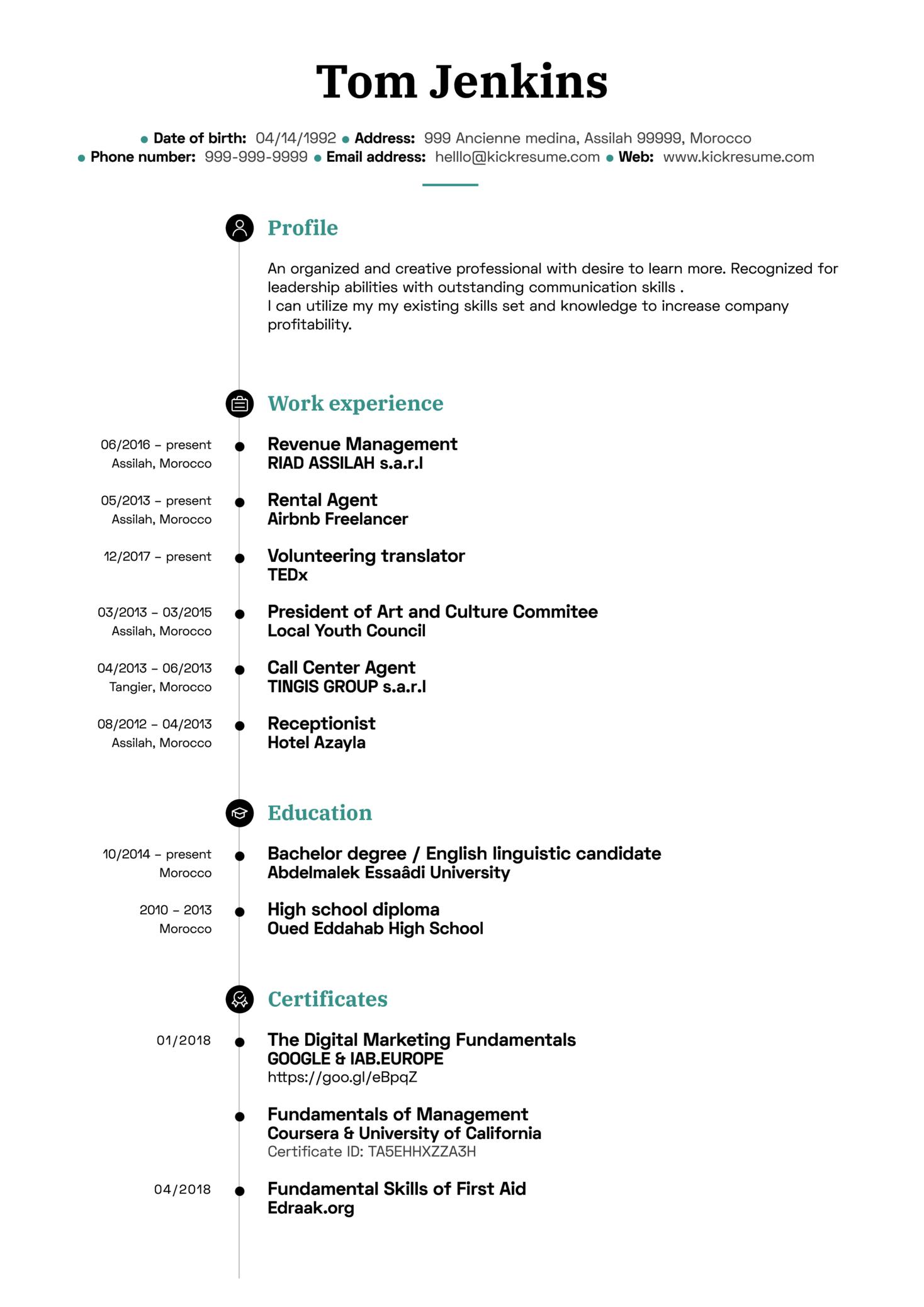 Digital Marketing Coordinator CV Sample (Part 1)