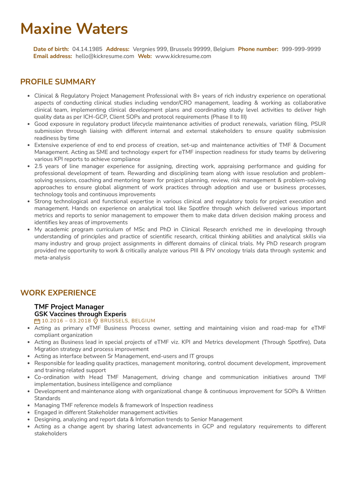 GlaxoSmithKline Manager Resume Example (parte 1)