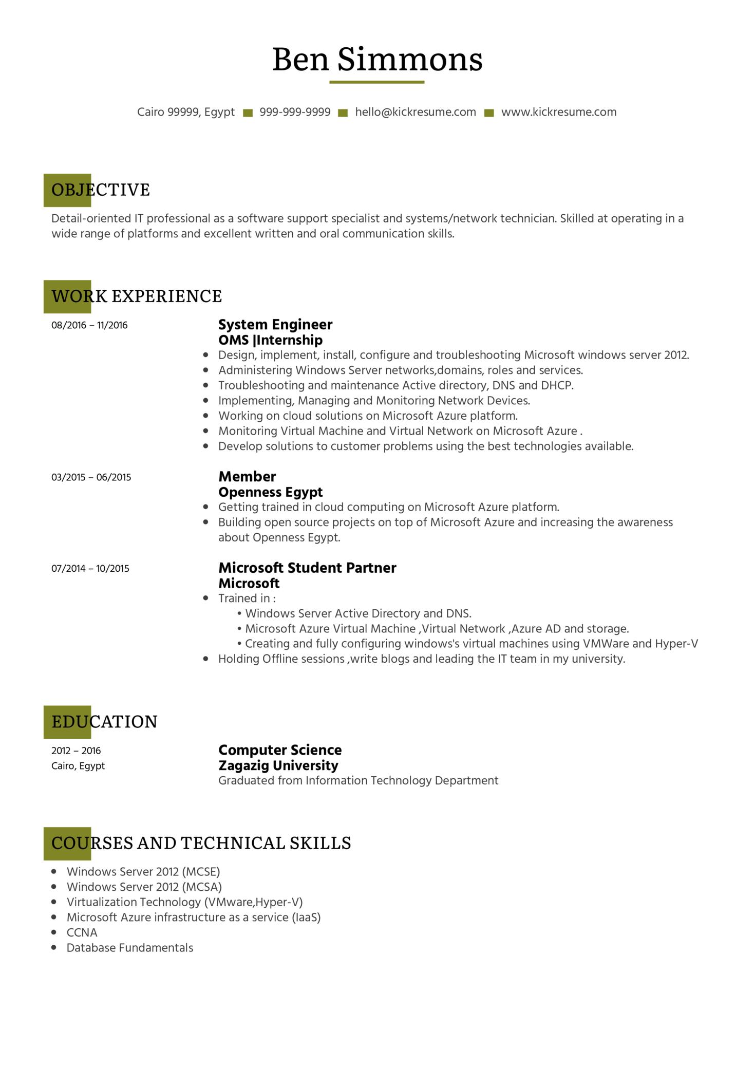 System Administrator CV Sample (parte 1)