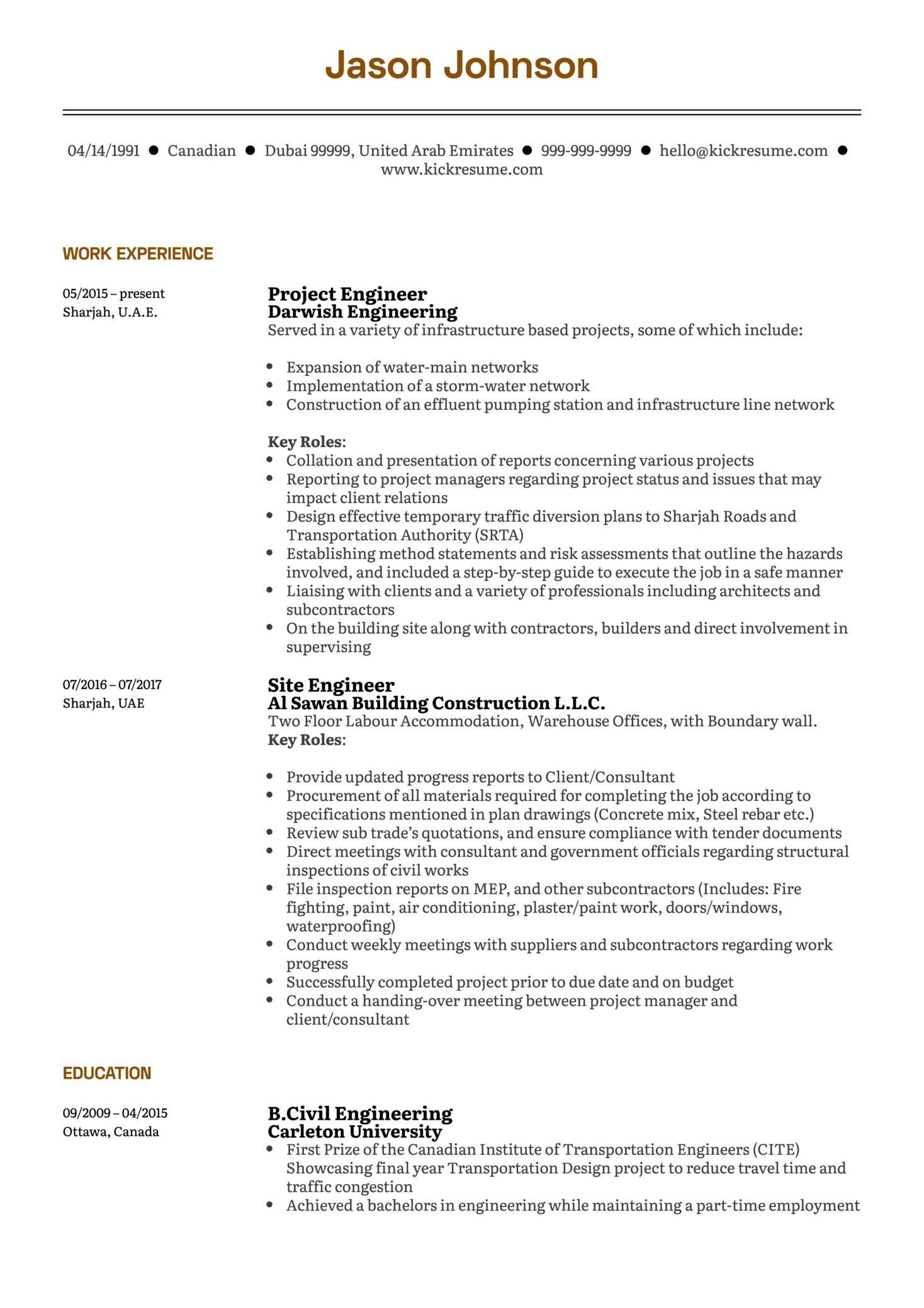 Project Engineer Resume Sample (časť 1)