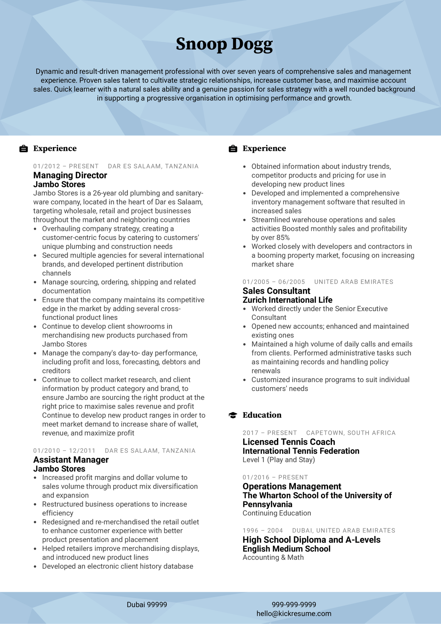 Assistant Manager CV Example (parte 1)