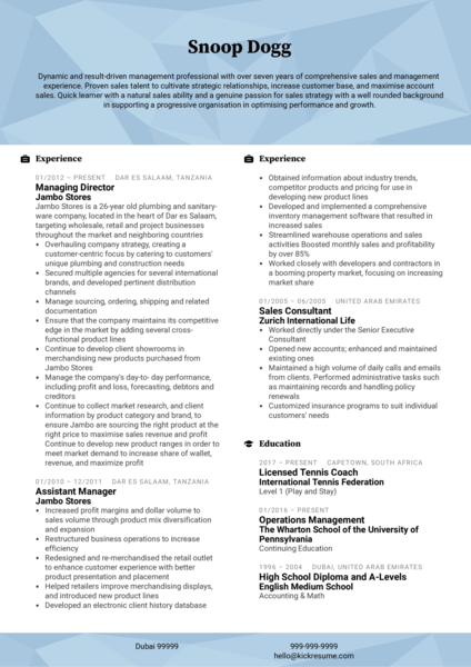 Assistant Manager CV Example