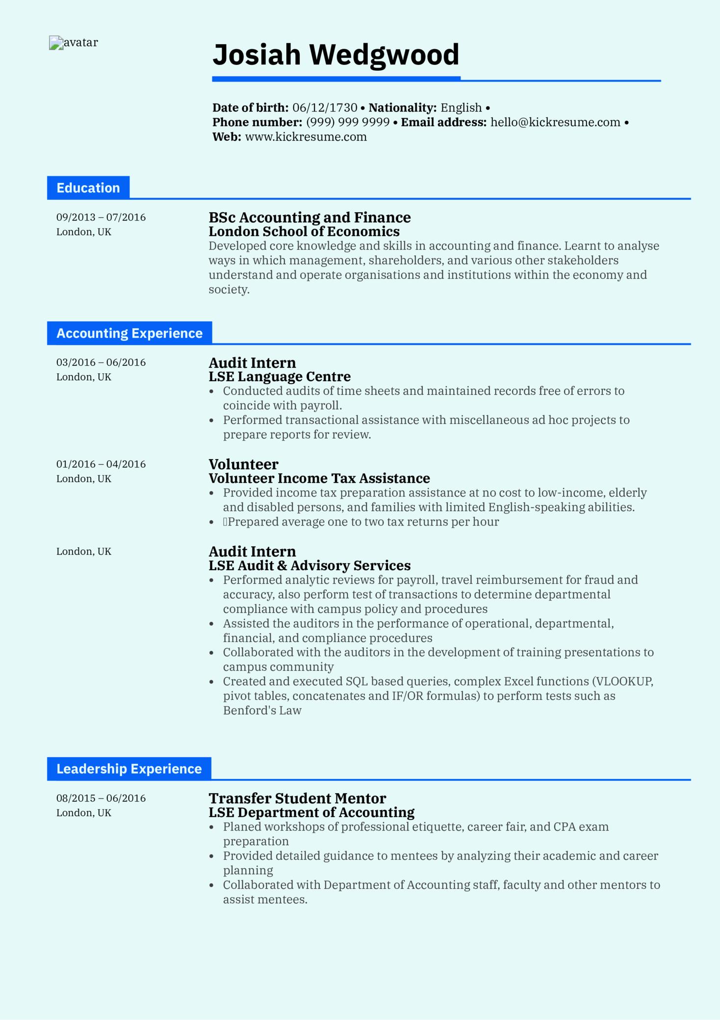 Graduate Accountant Resume Sample (Teil 1)