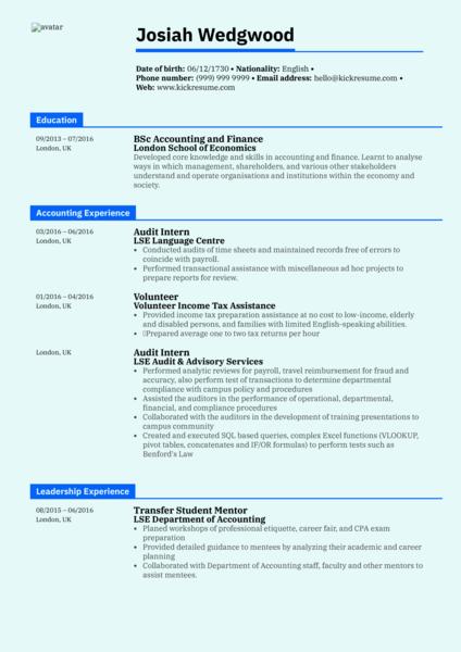 Graduate Accountant Resume Sample