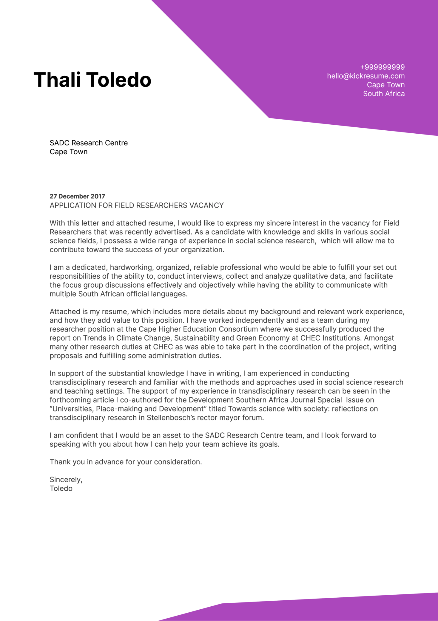 Science Research Associate Cover Letter Sample