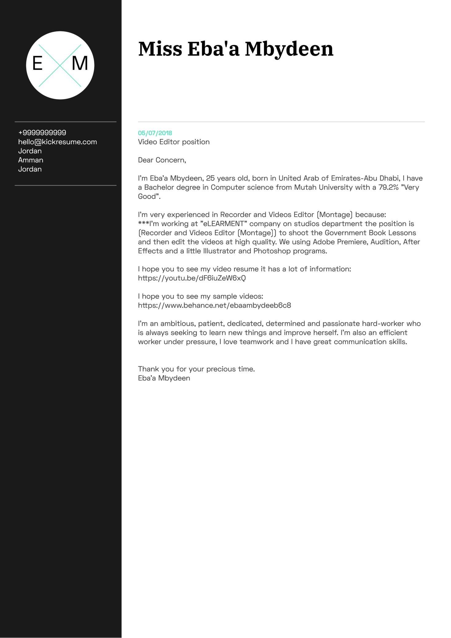 Video Editor Cover Letter Sample