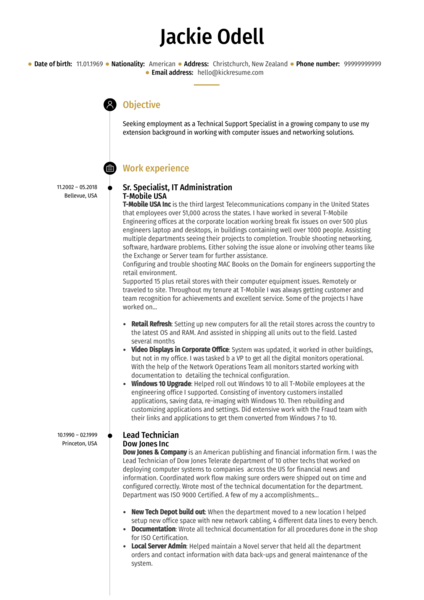 Sr. Technical Support Specialist Resume Template