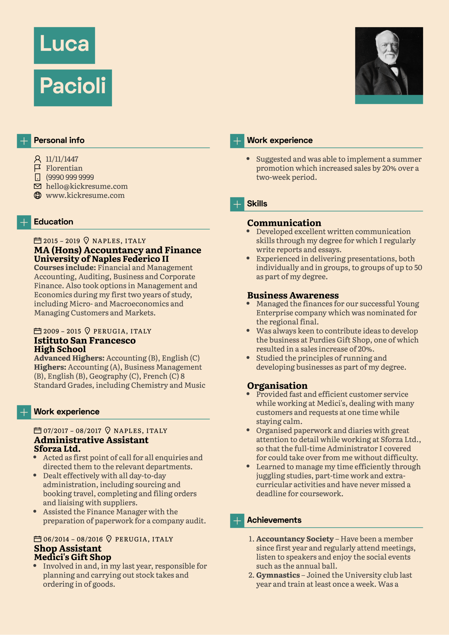 Student Accountant Resume Sample (parte 1)