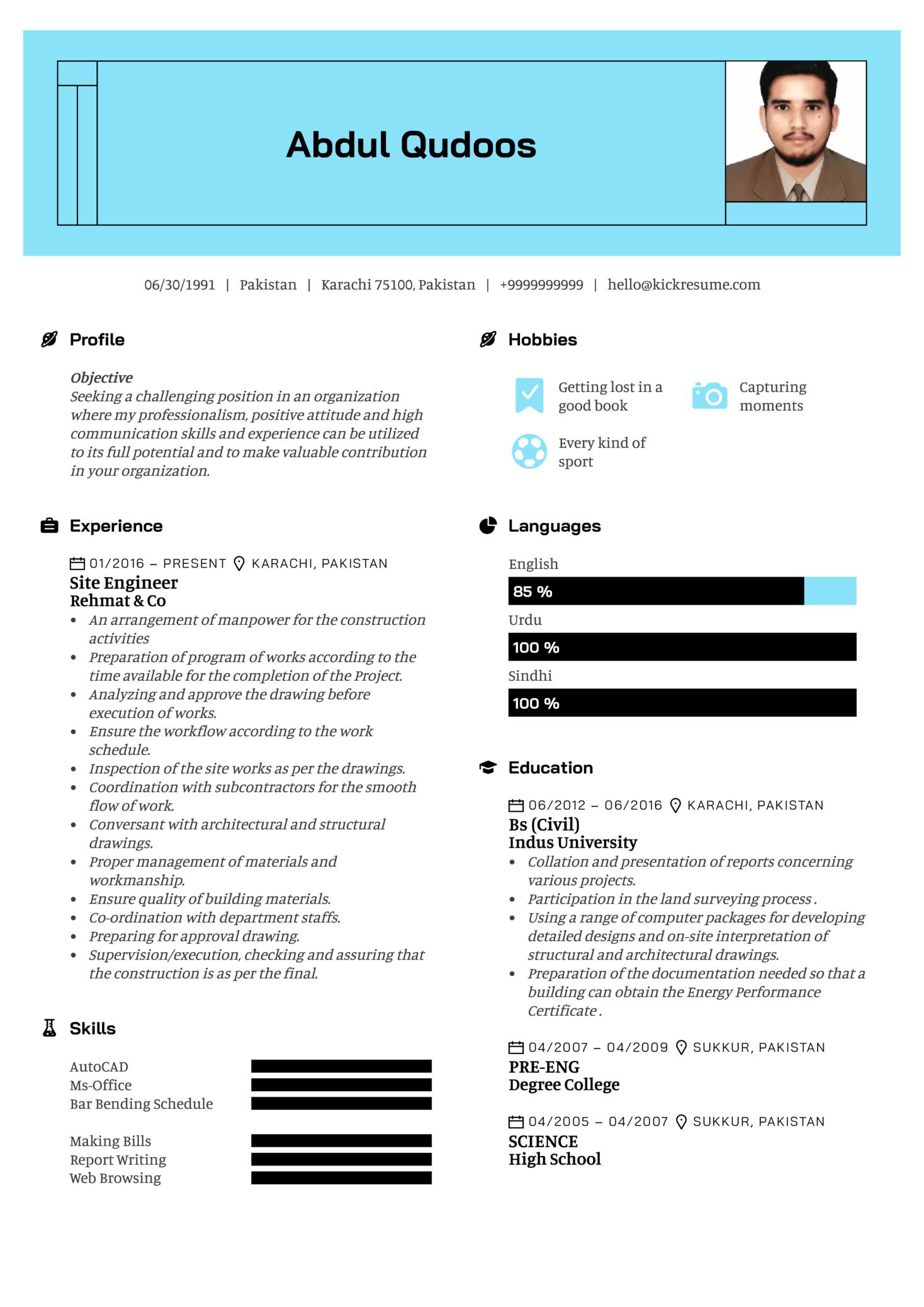 Assistant Civil Engineer Resume Sample (Teil 1)