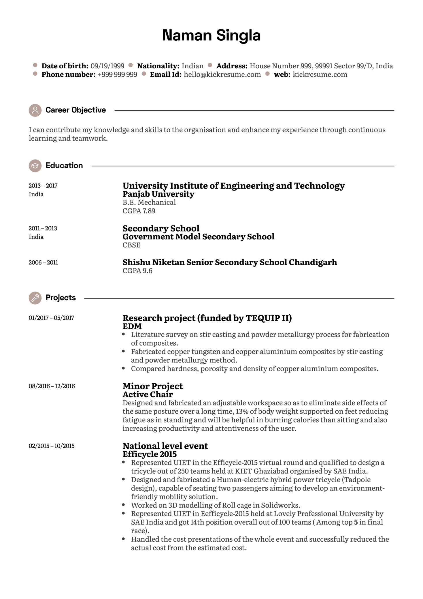 Junior Research Analyst CV Sample (parte 1)