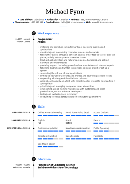 IT Support Specialist Resume Sample