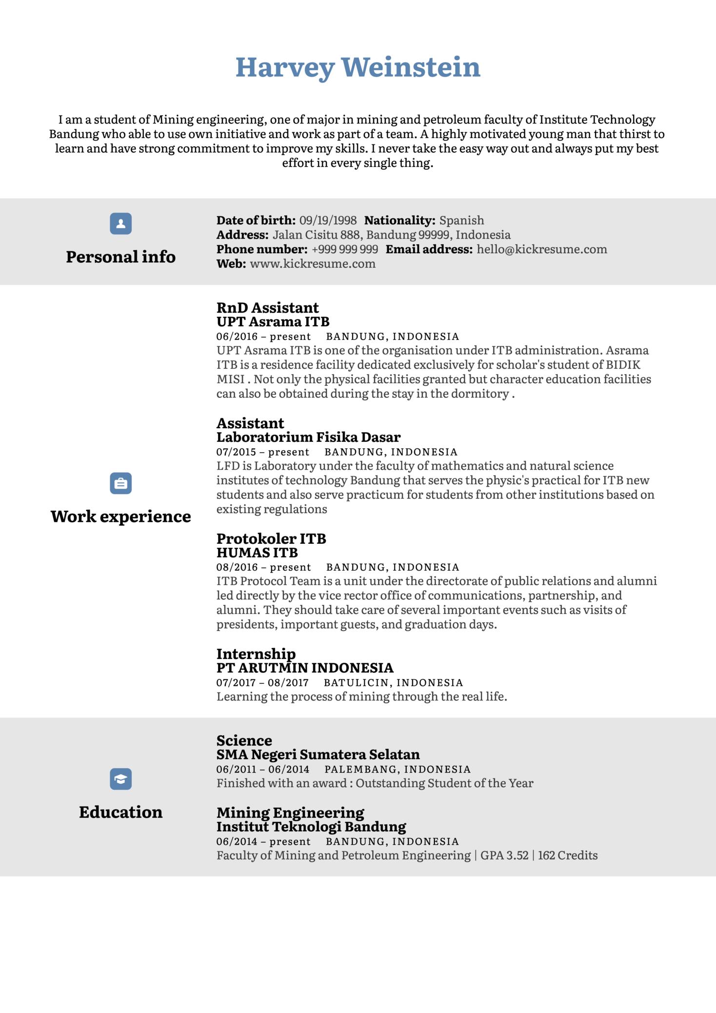 Mining Engineer Resume Sample (Parte 1)