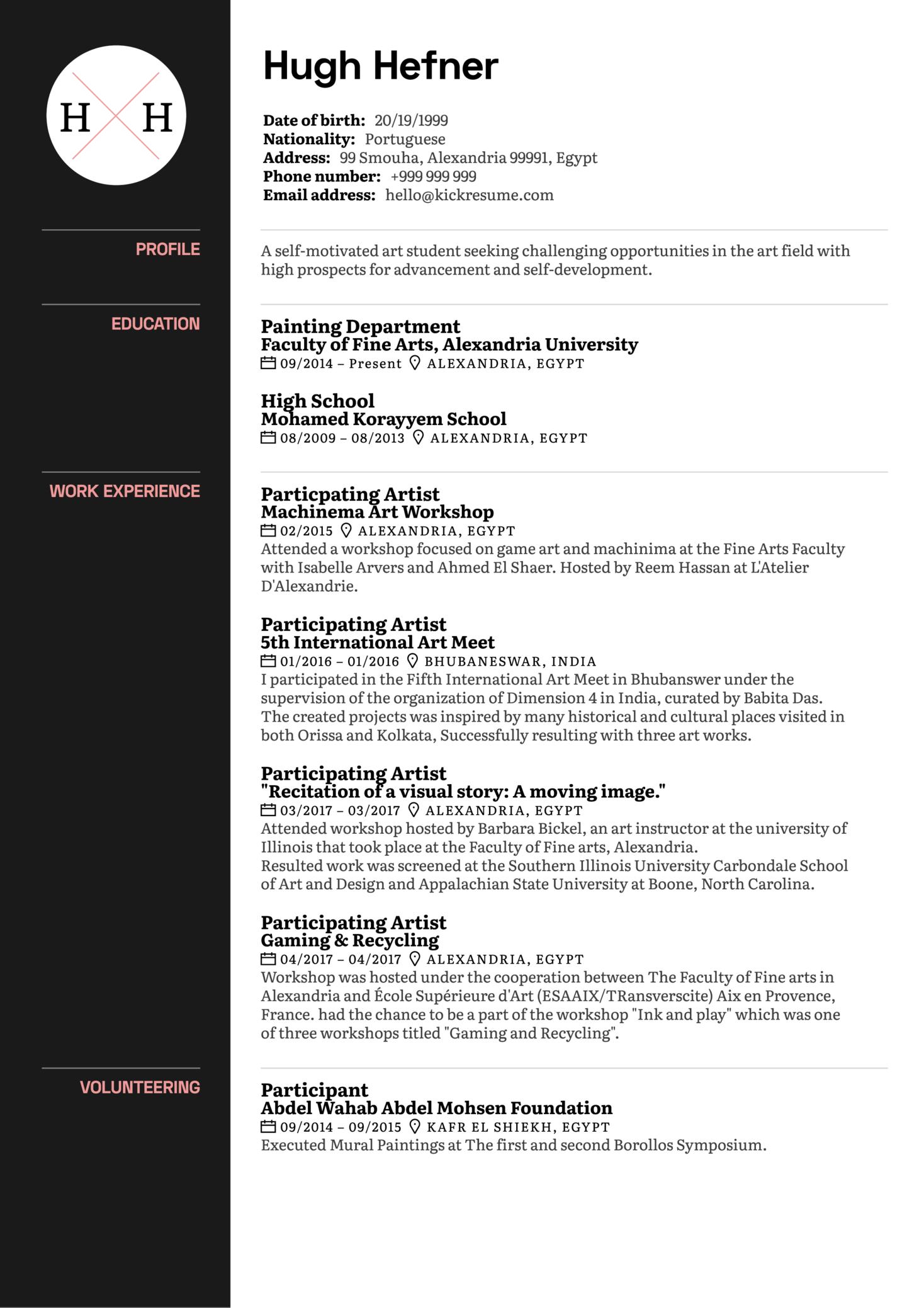 Art Curator CV Sample (Part 1)