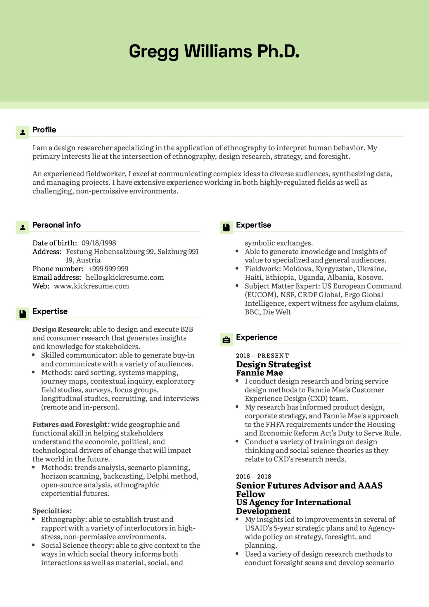 Design Strategist Resume Example (Part 1)