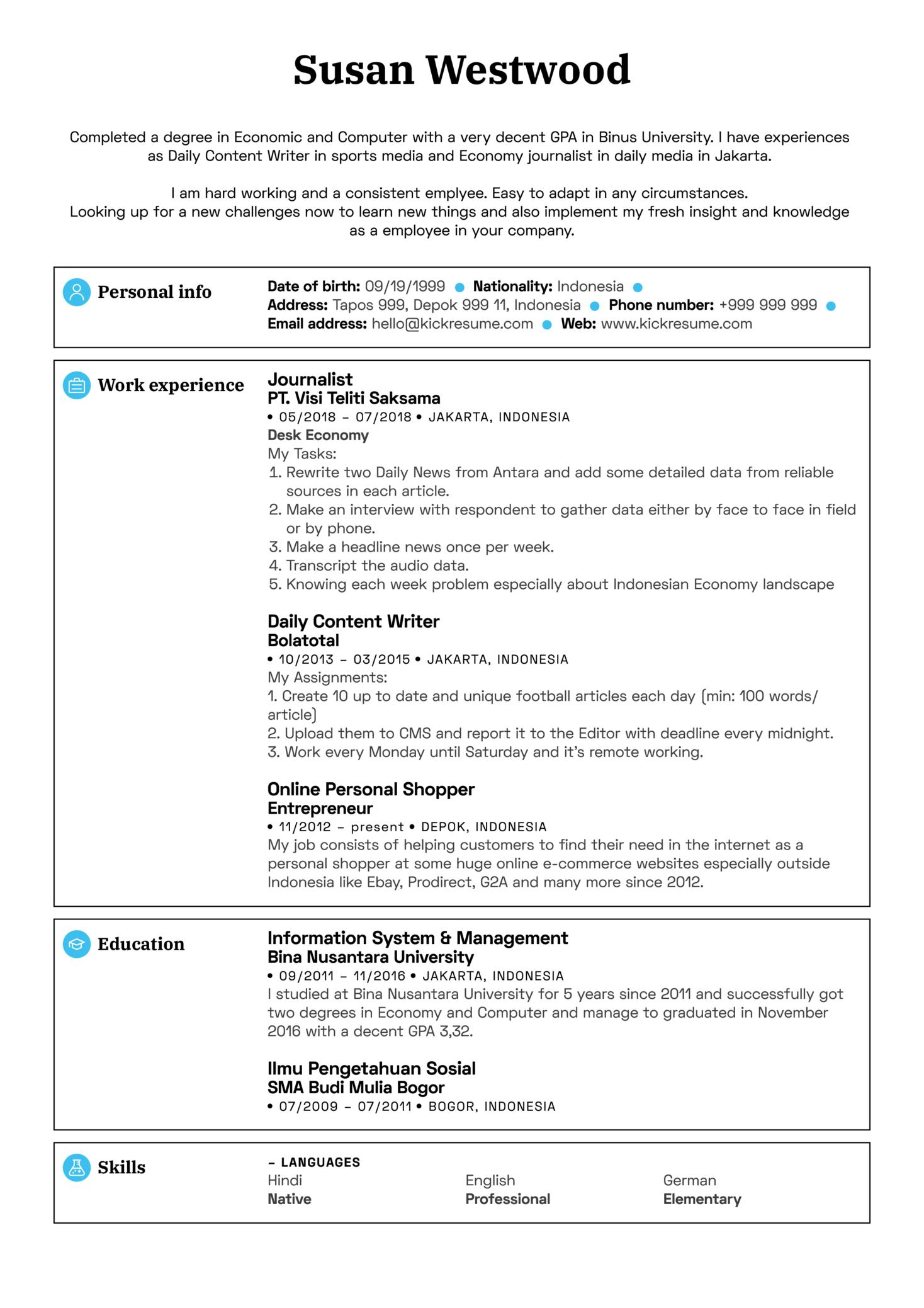 Sales Coordinator Resume Sample (časť 1)