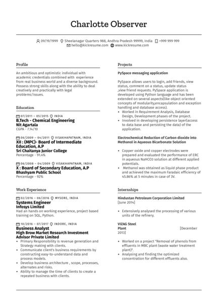 Business Analyst CV Sample