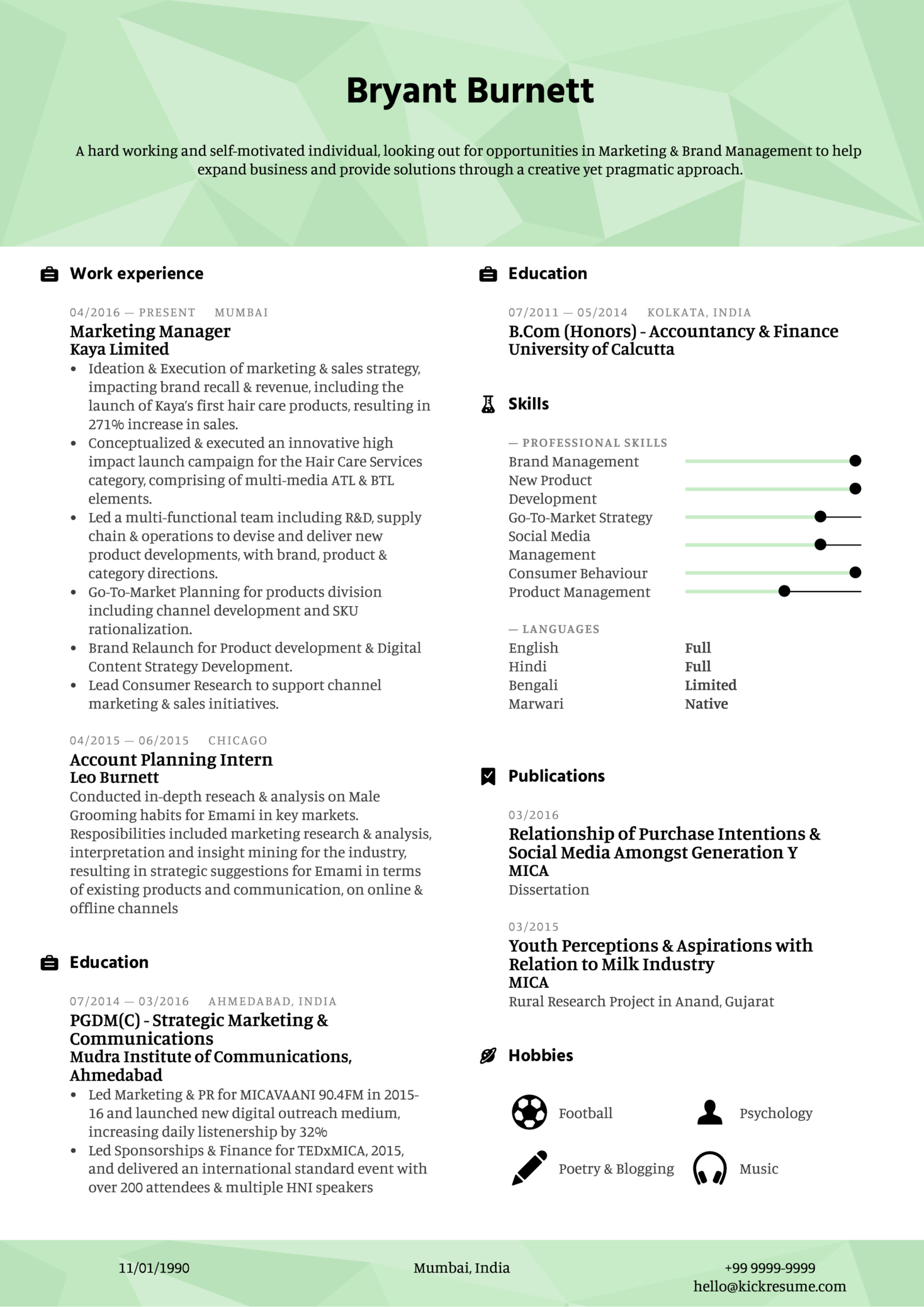 Marketing and Brand Manager Resume Example (Parte 1)