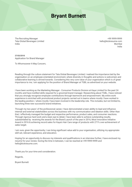 Marketing and Brand Manager Cover Letter Sample