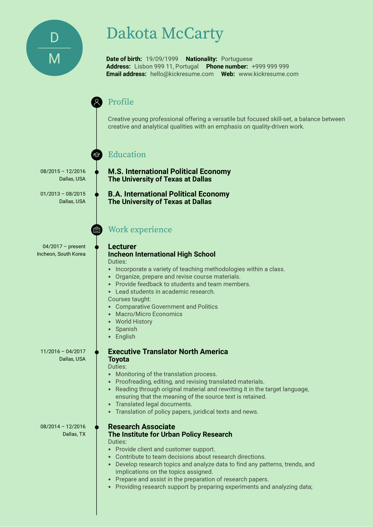 Support Analyst CV Sample (Part 1)