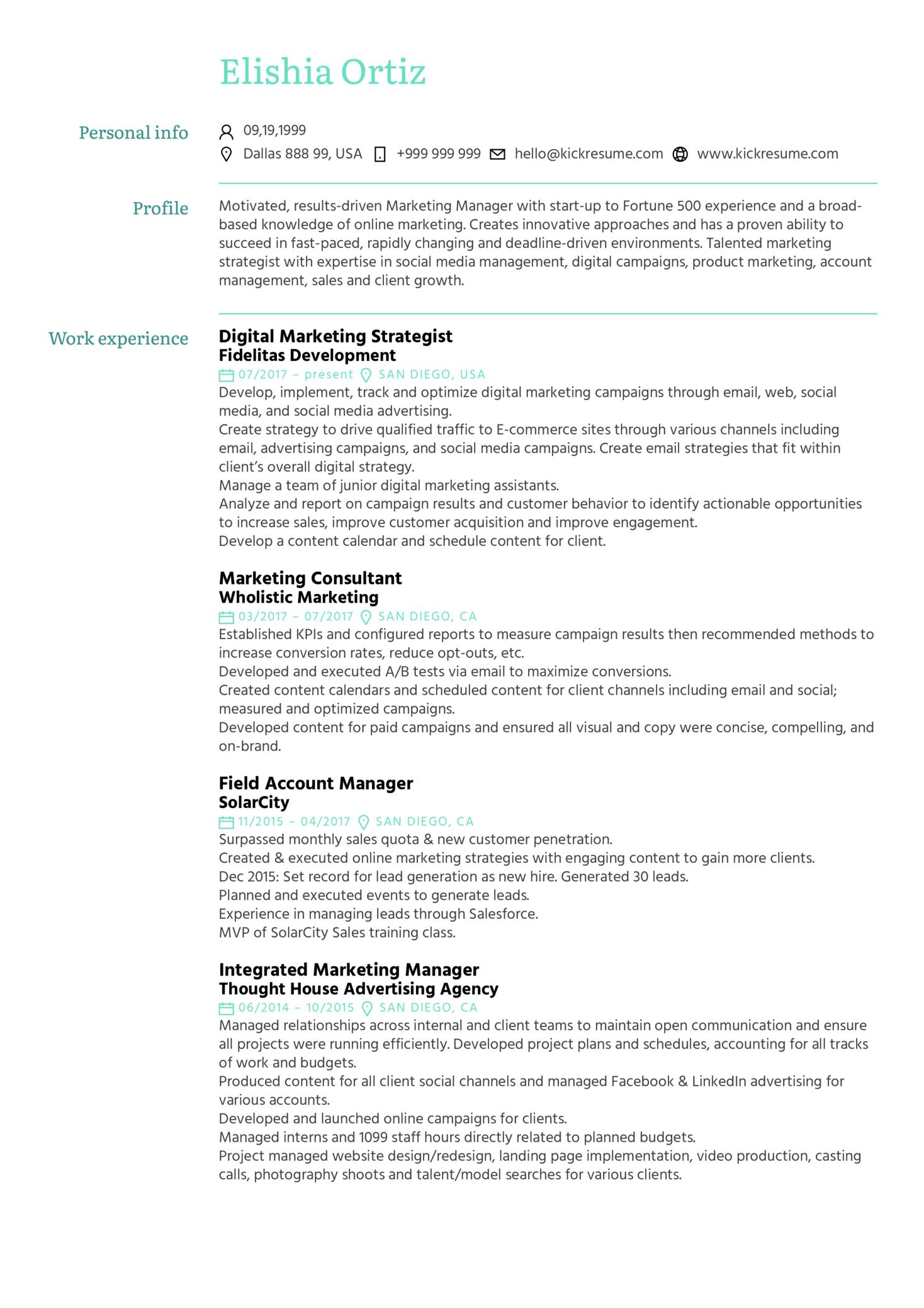 Marketing Strategist Resume Sample (Part 1)