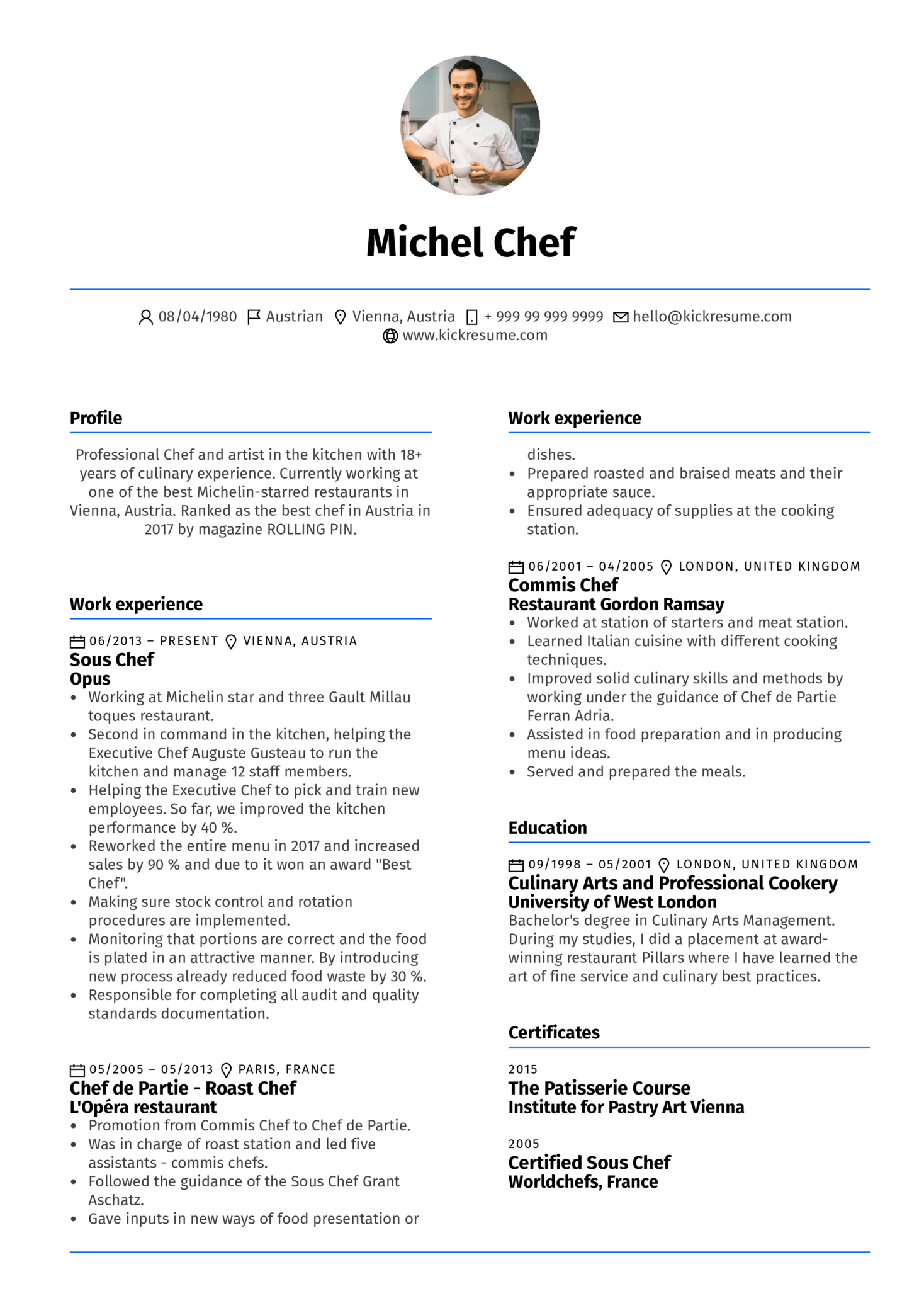 Sous Chef Resume Example (Teil 1)