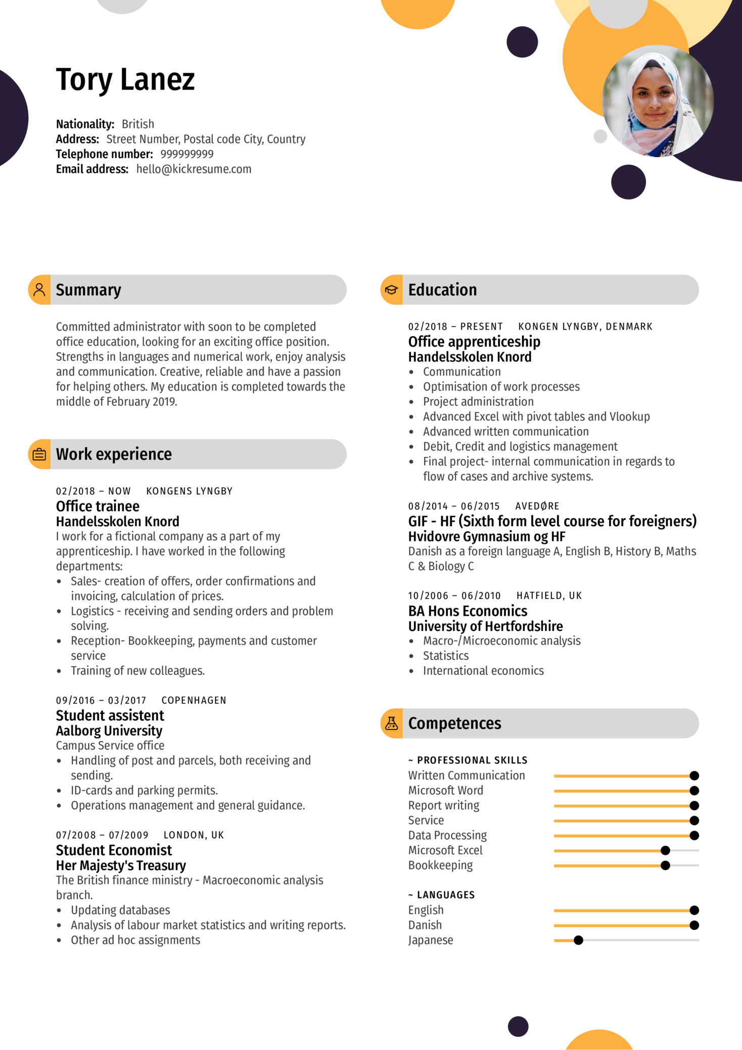 Office Assistant Resume Example (Teil 1)