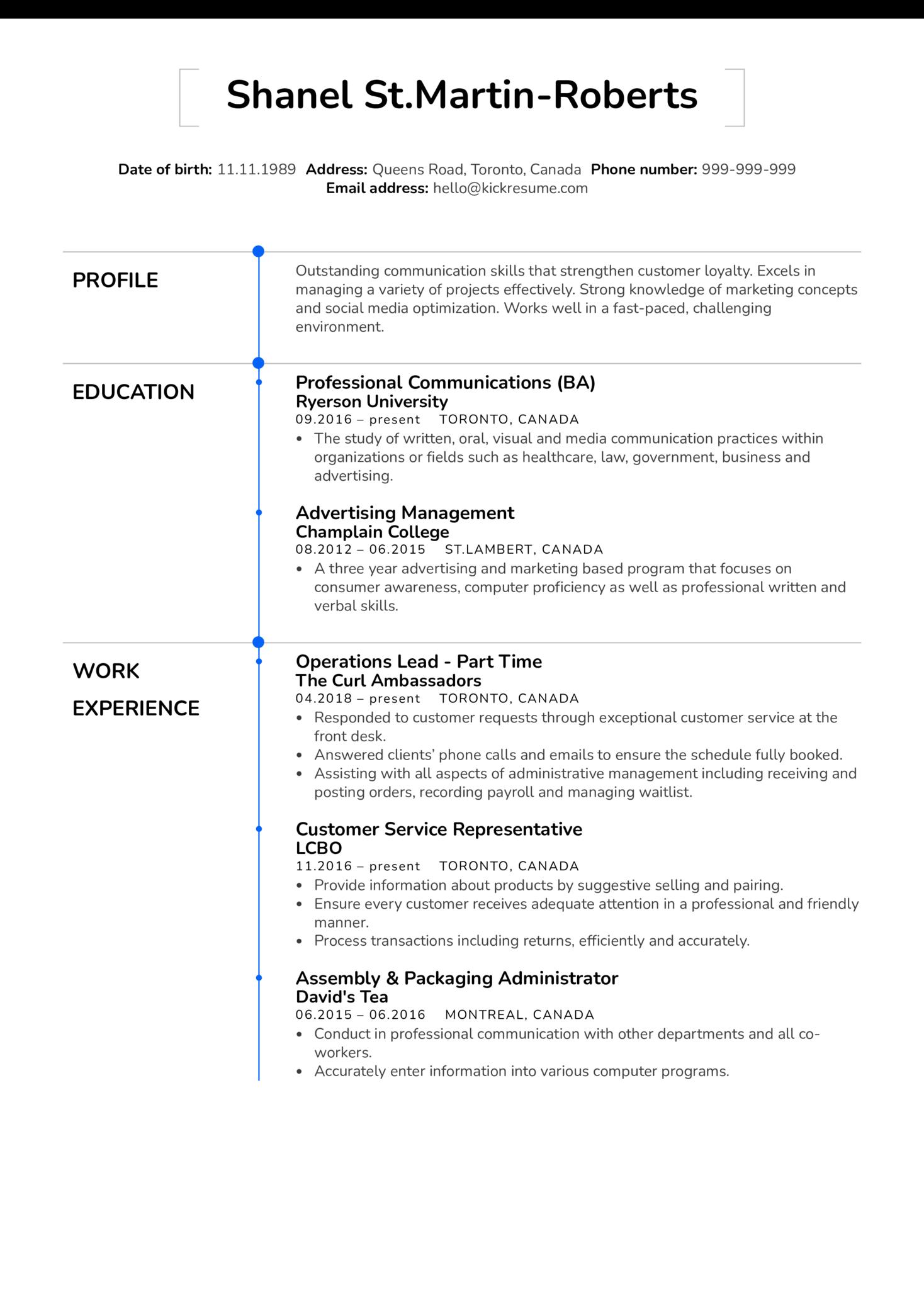 Operations Coordinator Resume Sample (Parte 1)
