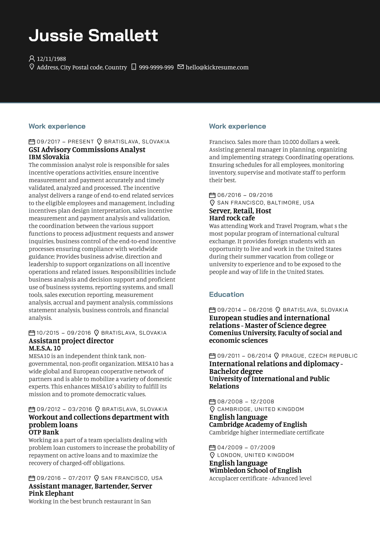 IBM Commission and Business Analyst Resume Sample (parte 1)