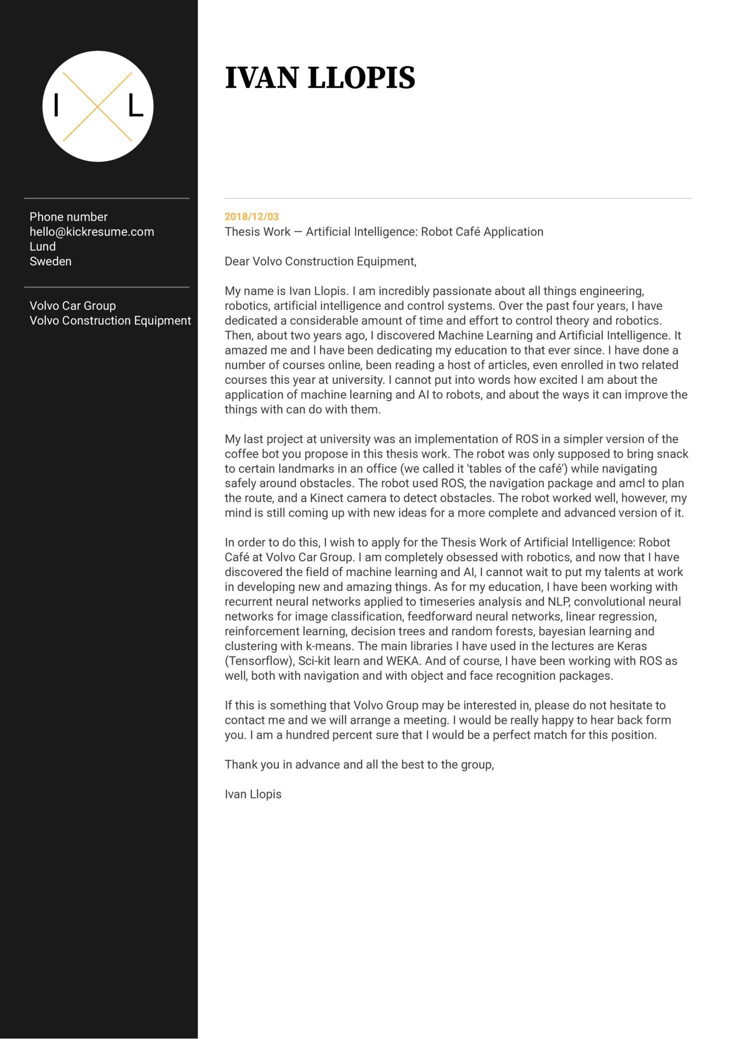 Volvo Machine Learning Intern Cover Letter Sample