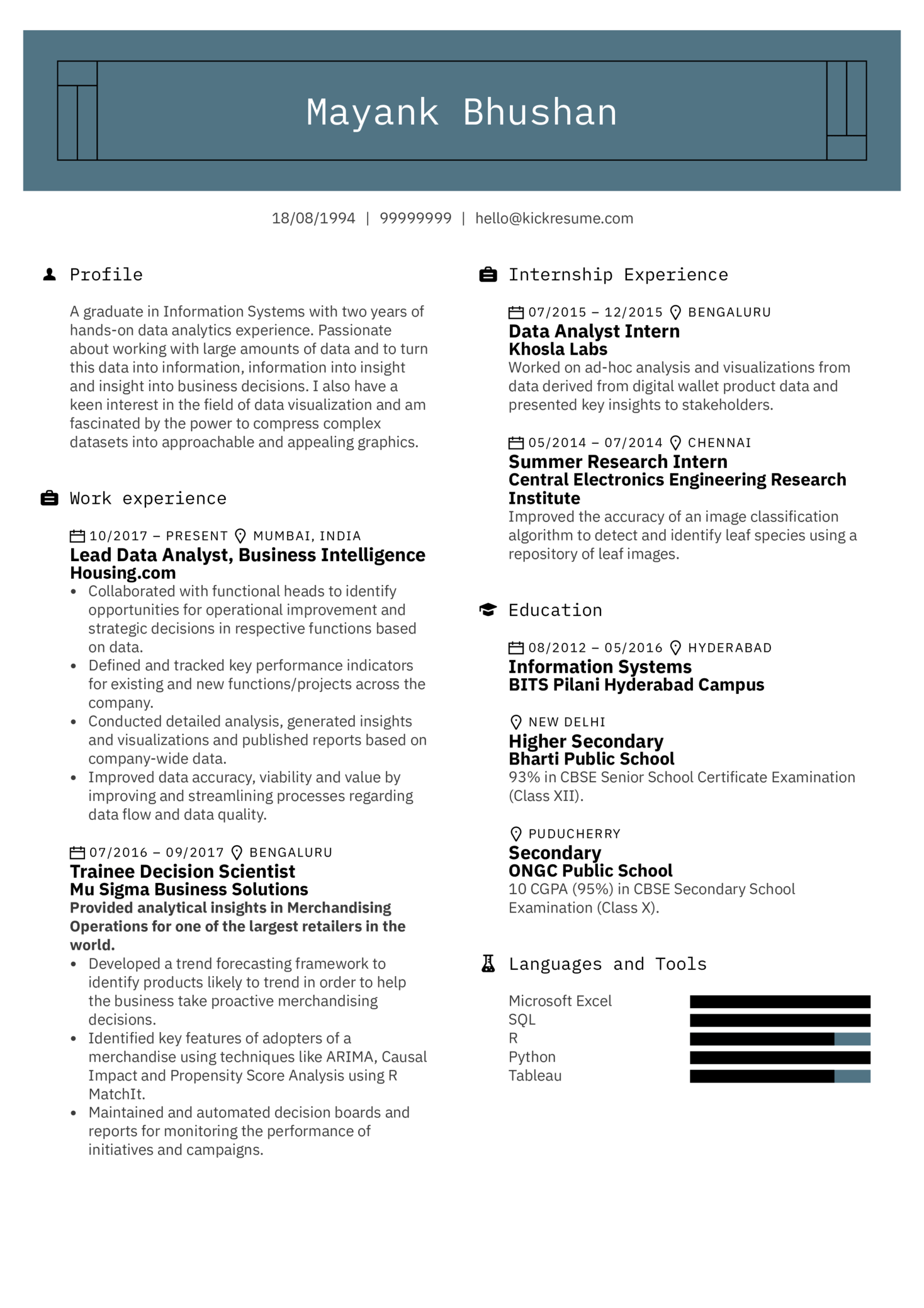 Lead Data Analyst Resume Example (Parte 1)