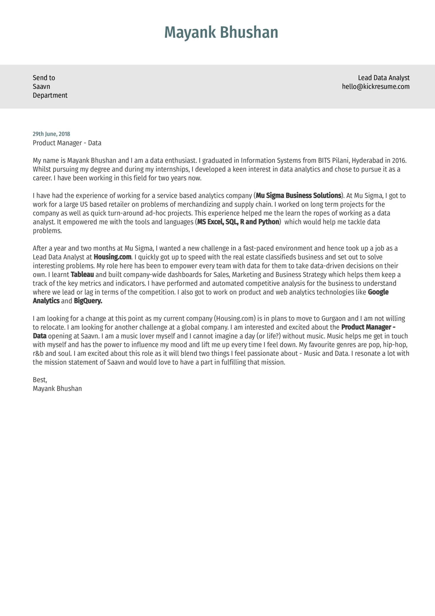 Lead Data Analyst Cover Letter Sample