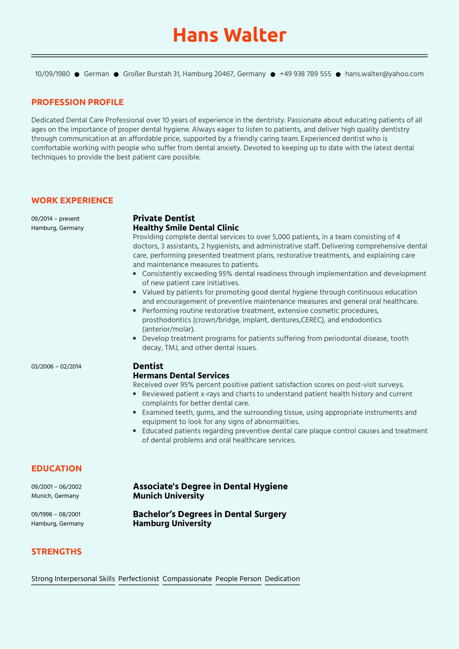 Dentist Resume Sample (Part 1)