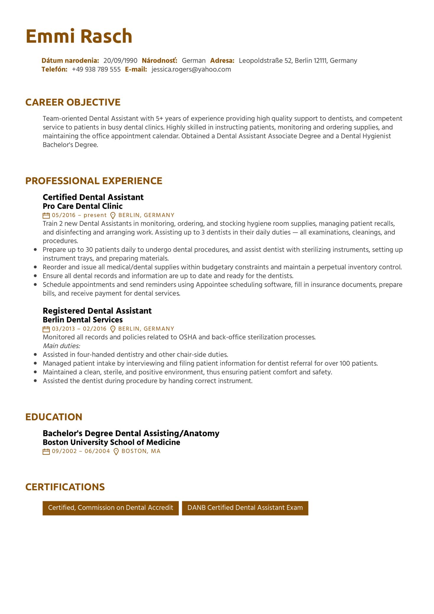 Dental Assistant CV Sample (parte 1)
