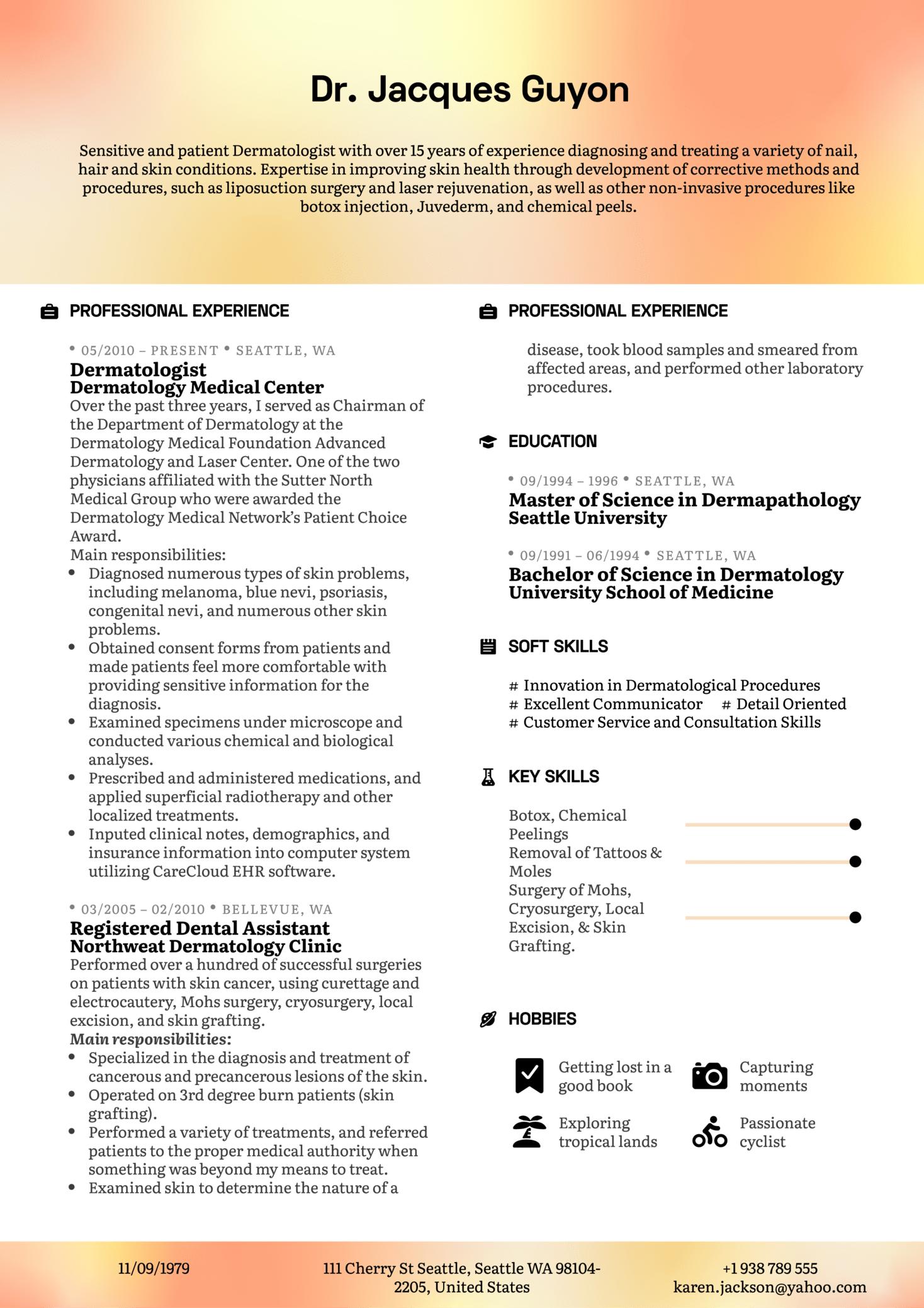 Dermatologist Resume Example (Teil 1)