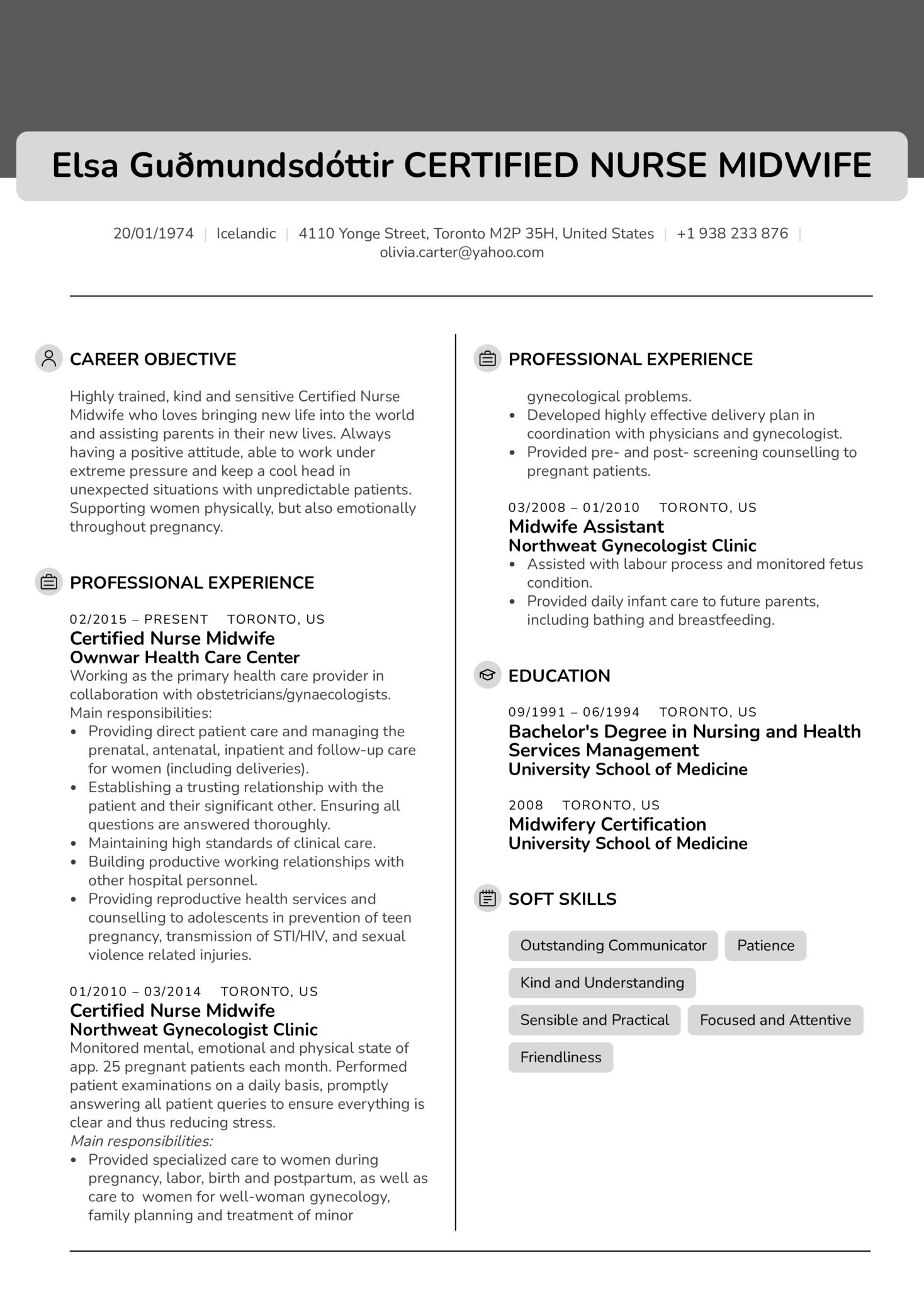Certified Nurse Midwife Resume Sample (parte 1)