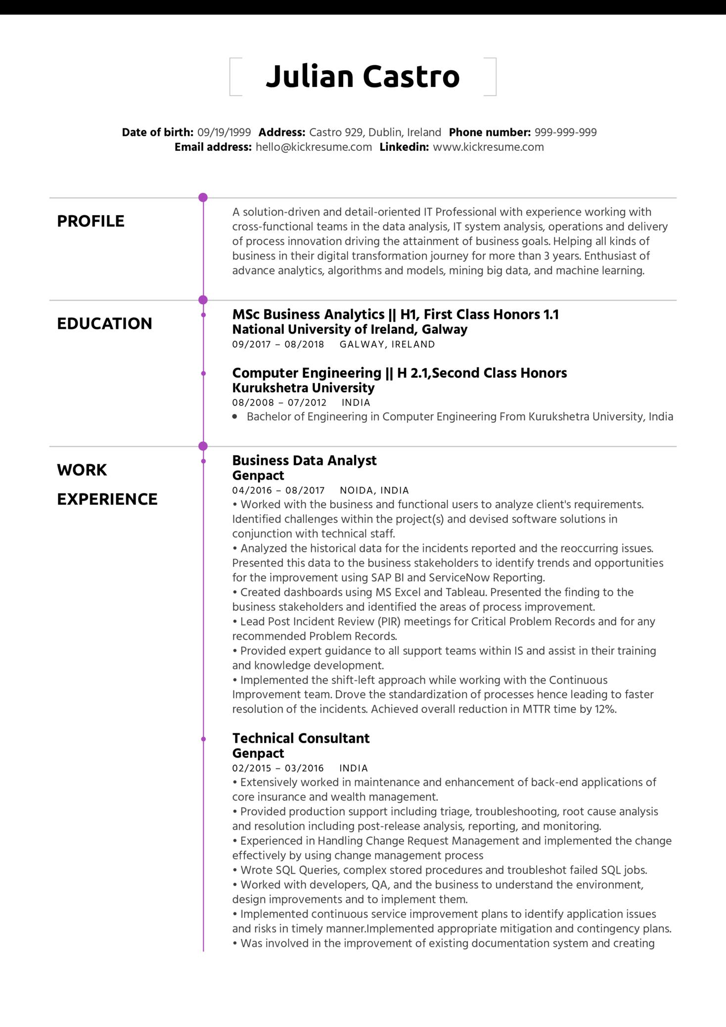 Business Process Analyst CV Sample (Teil 1)