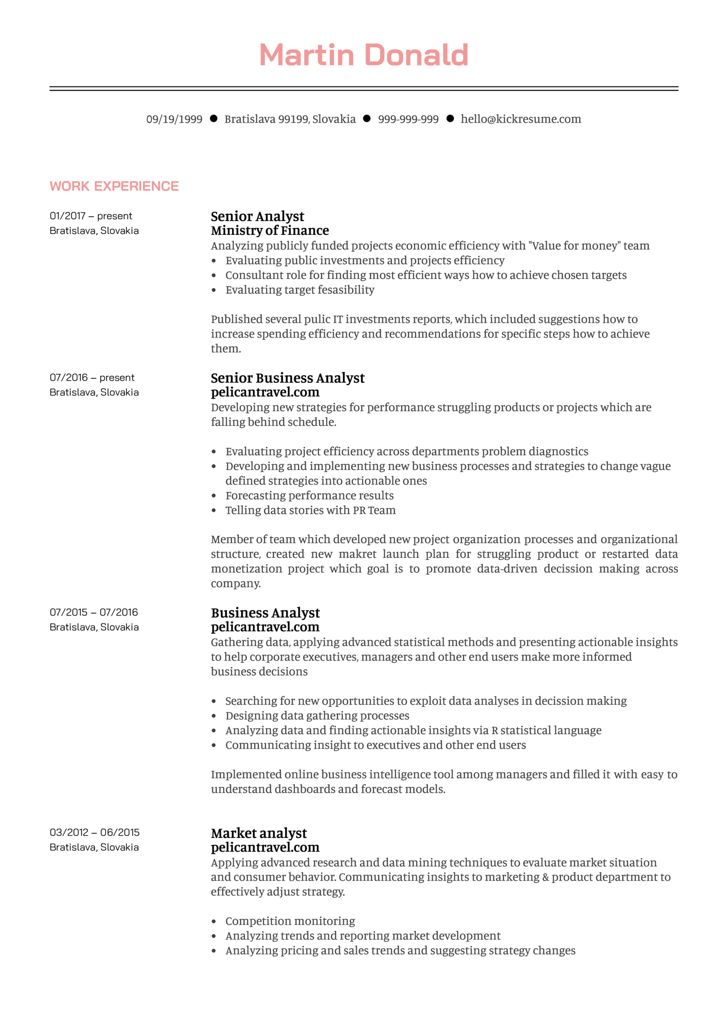 Senior Business Analyst Resume Example (Part 1)