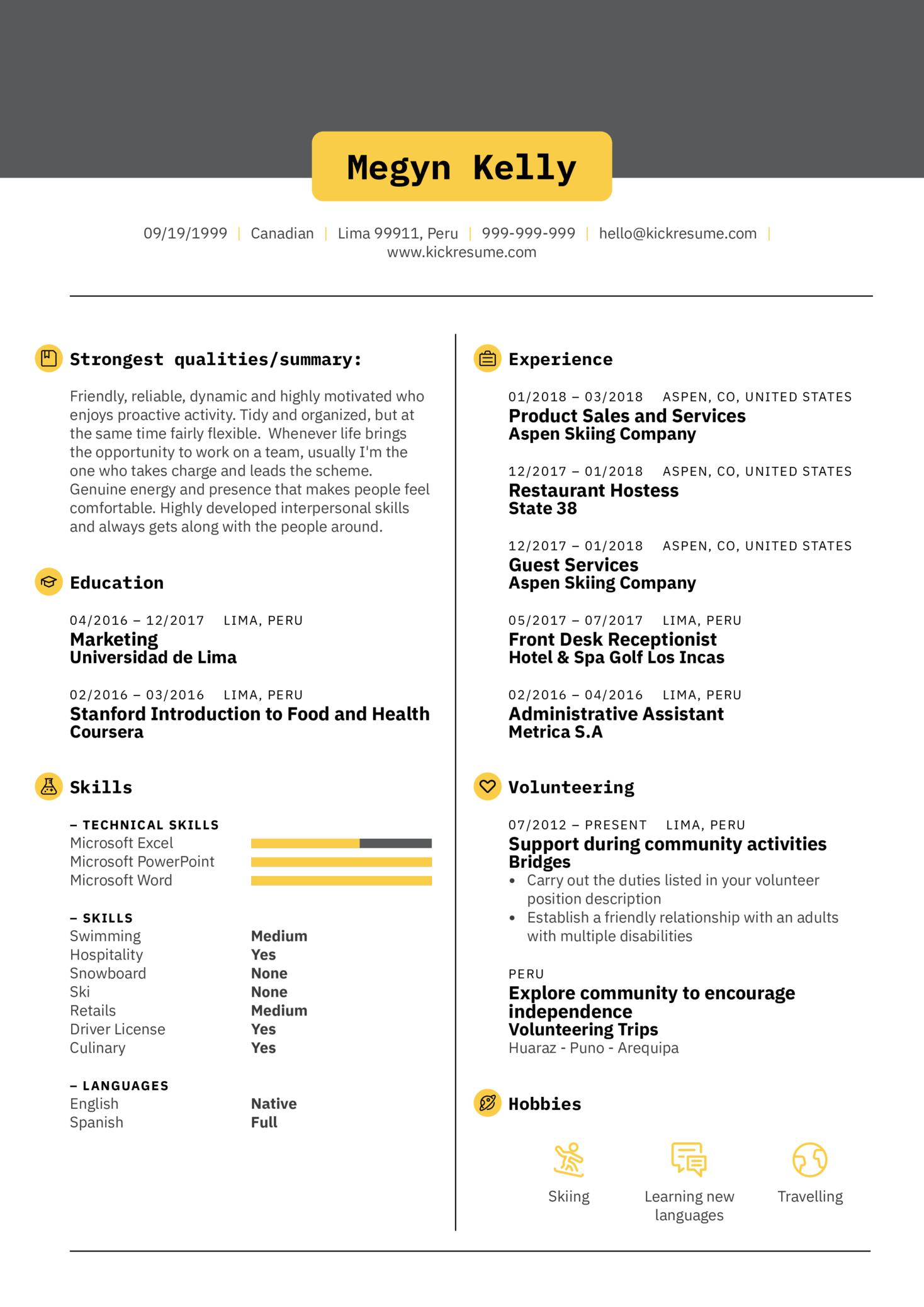 Front Desk Receptionist CV Sample (parte 1)