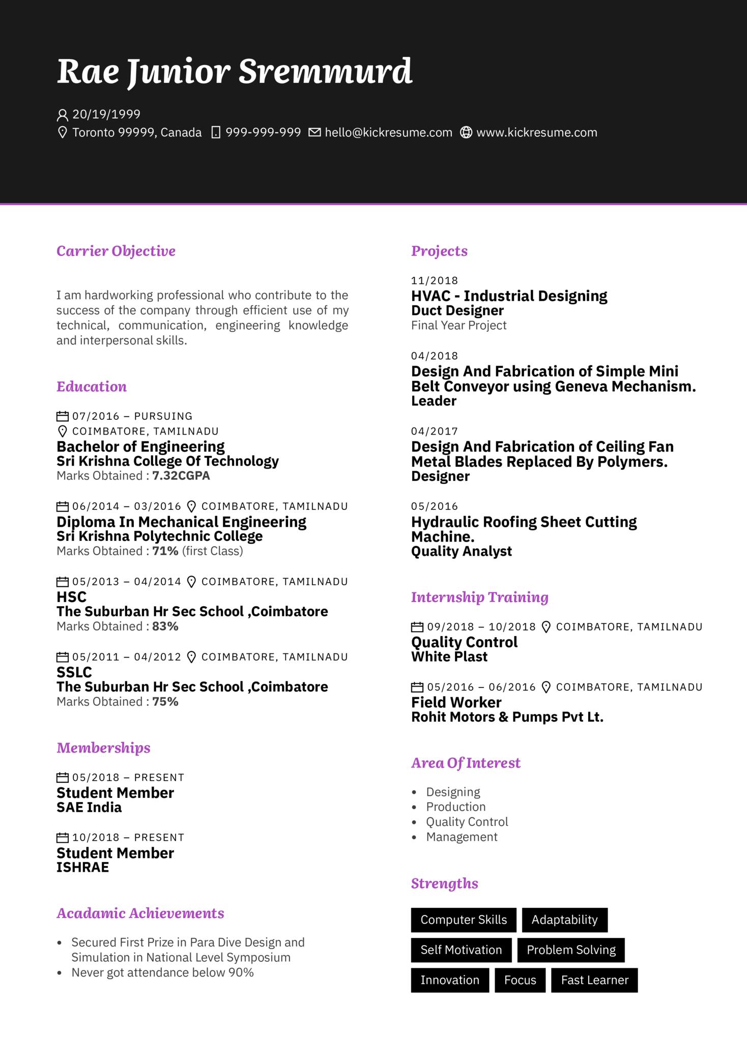 System Design Engineer CV Sample (Part 1)