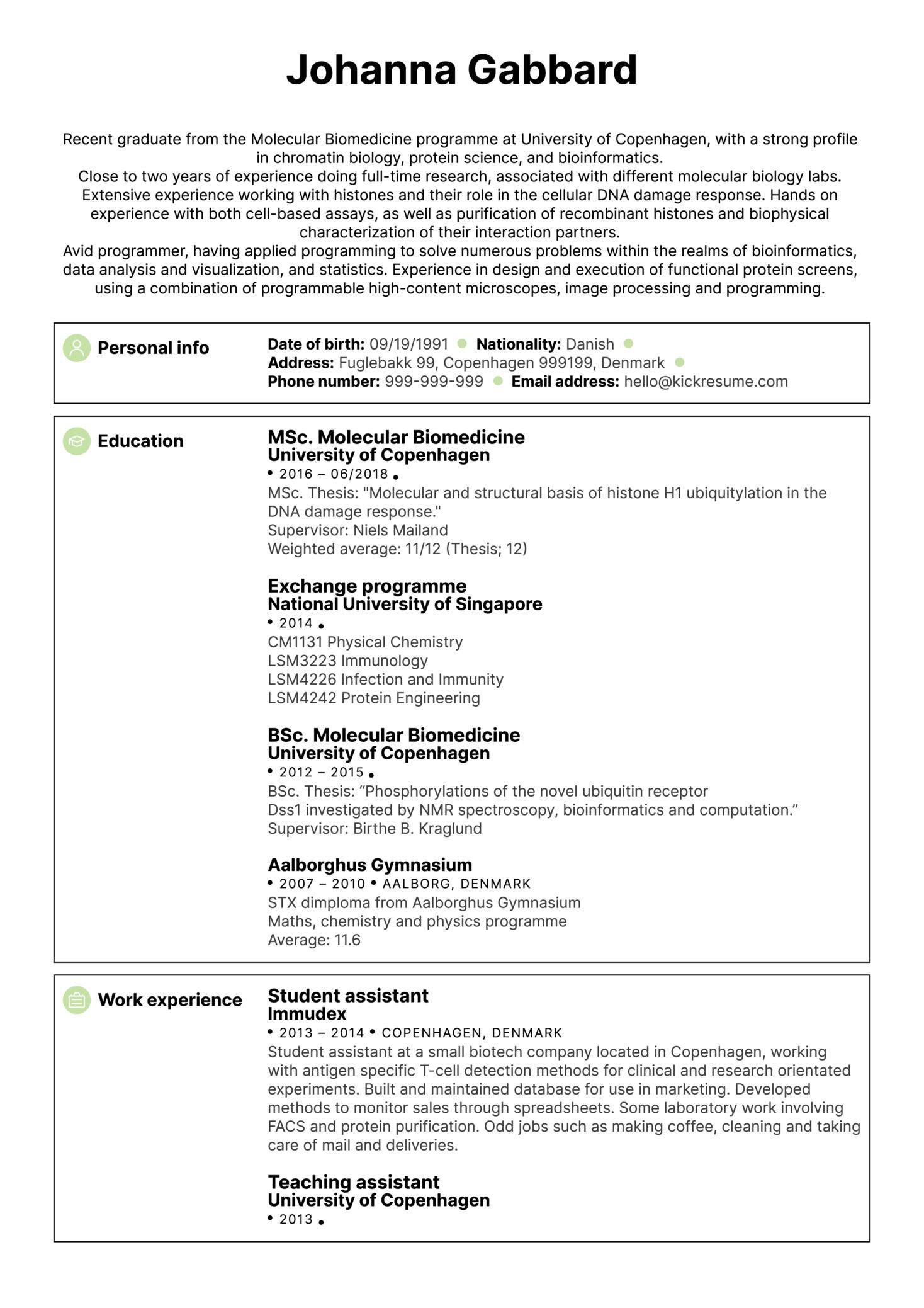 University Biomedical Researcher Resume Sample (Part 1)