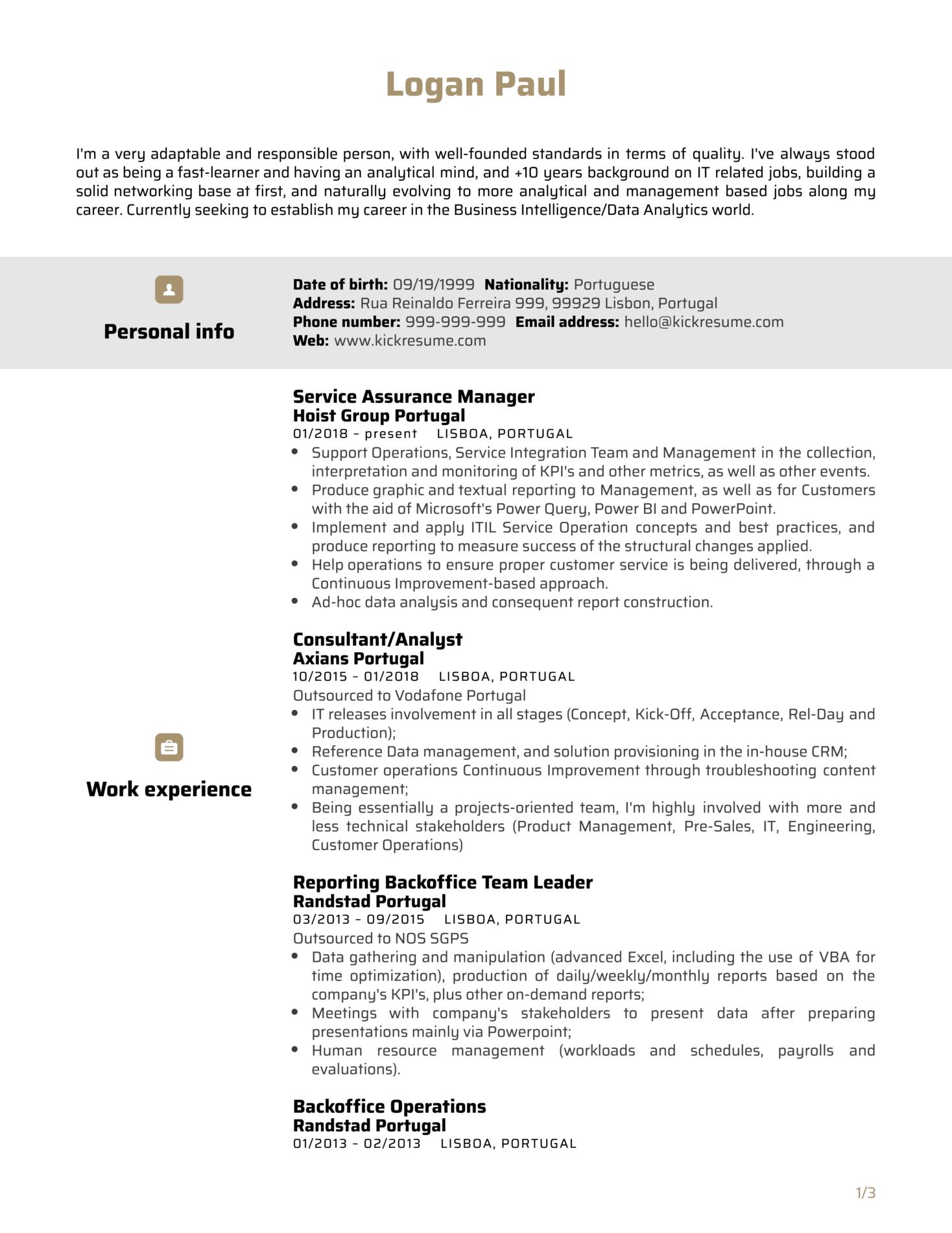 Data Service Manager Resume Sample (Part 1)