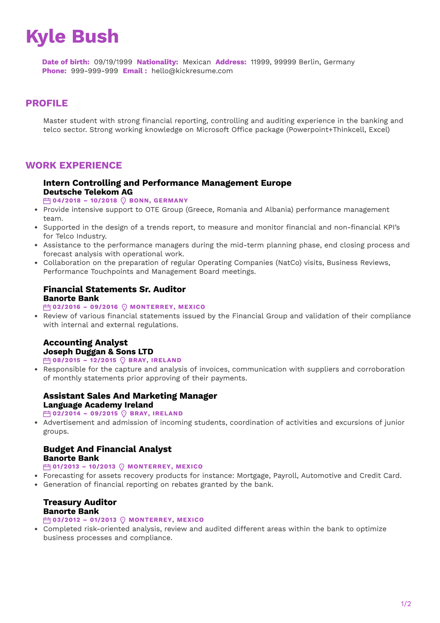 Financial Accounting Intern Resume Sample (parte 1)