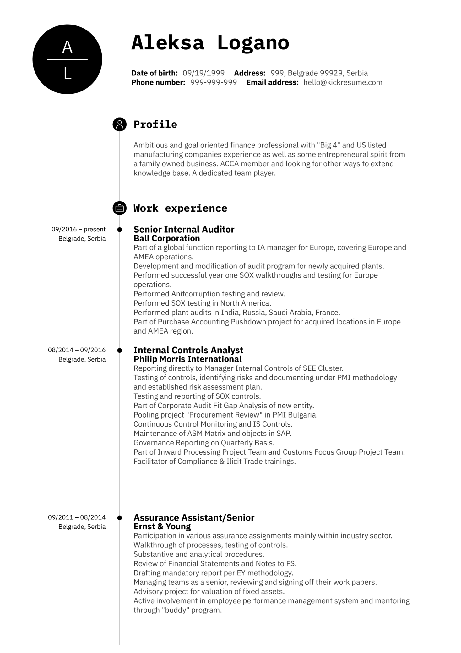 Senior Internal Auditor CV Sample (parte 1)