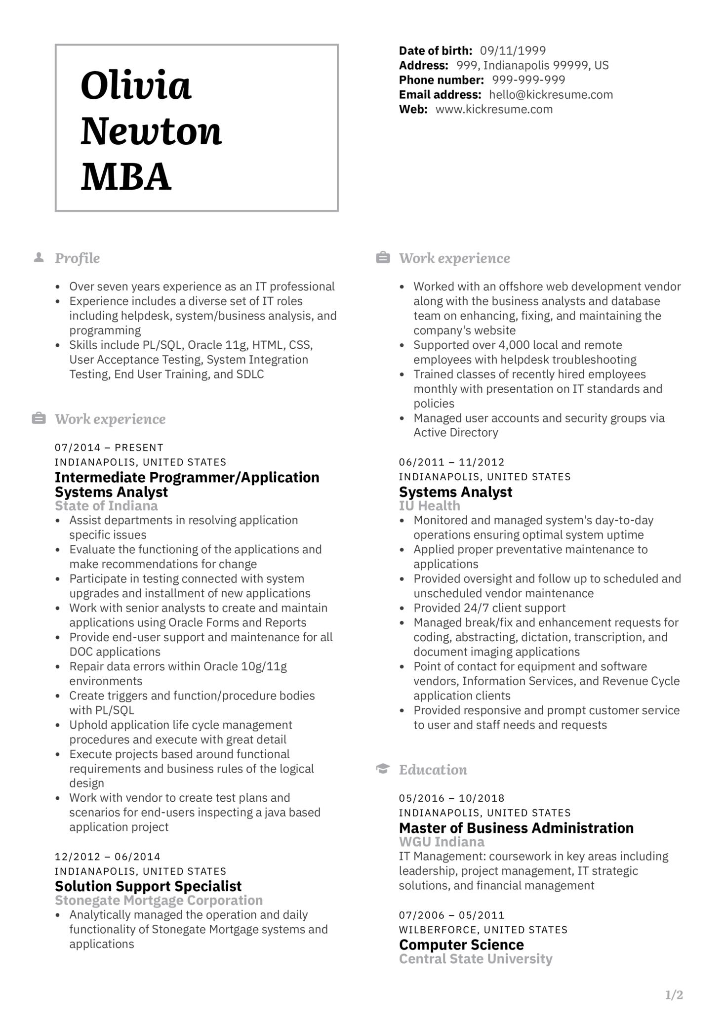 Senior Systems Analyst CV Sample (Part 1)
