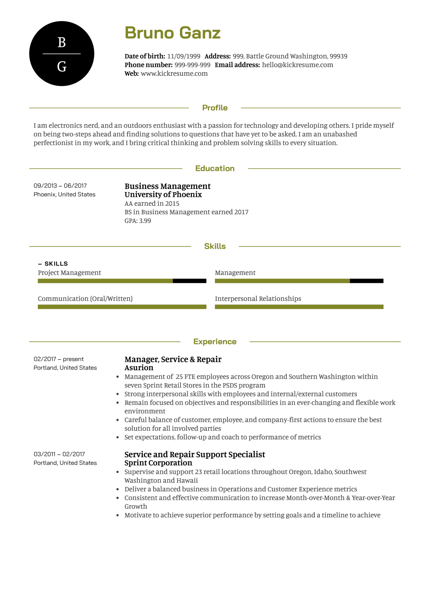 Senior Project Manager Resume Example (Parte 1)